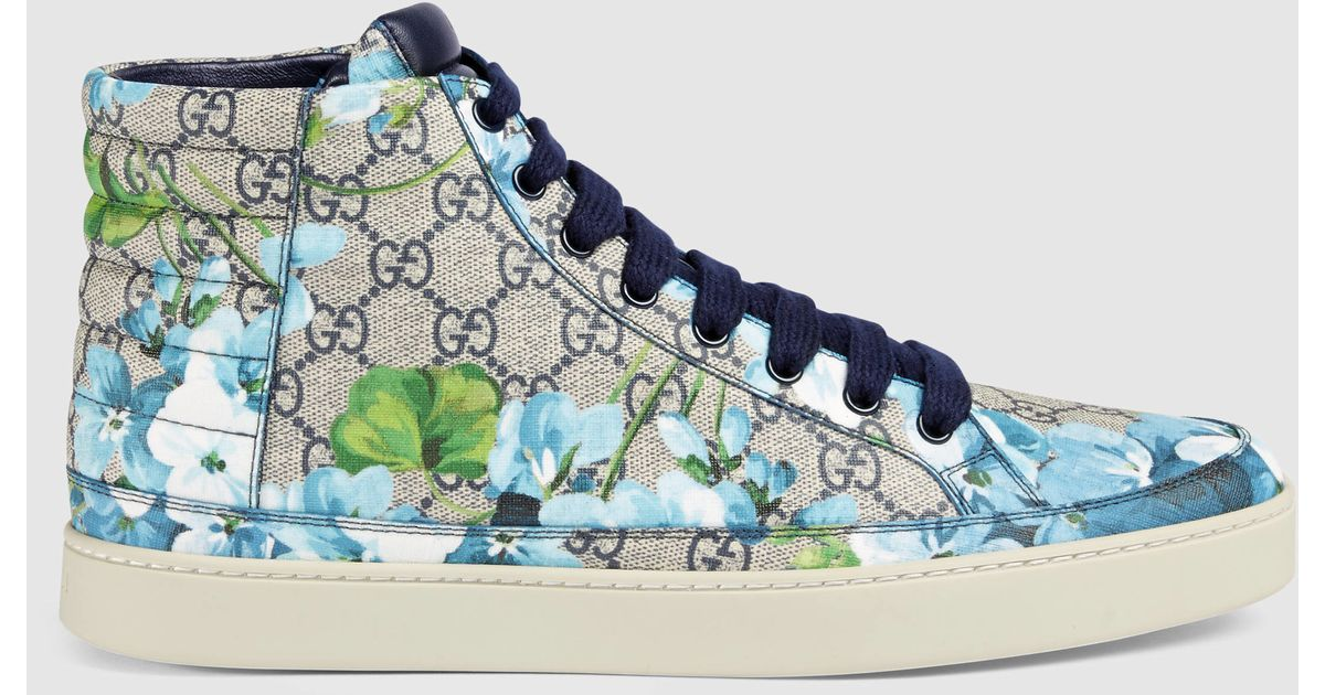 563ea7ace3b Gucci Gg Blooms High-top Sneaker in Blue for Men - Lyst