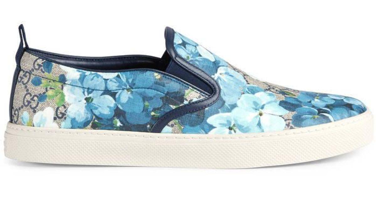 91bf11e8eeb Gucci Gg Blooms Slip-on Sneaker in Blue for Men - Lyst