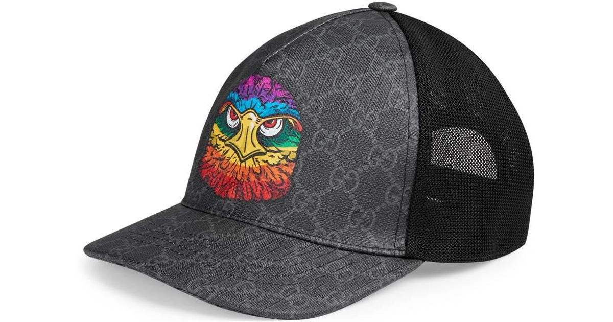 2bed3d882 Gucci GG Supreme Baseball Hat With Eagle in Black for Men - Lyst