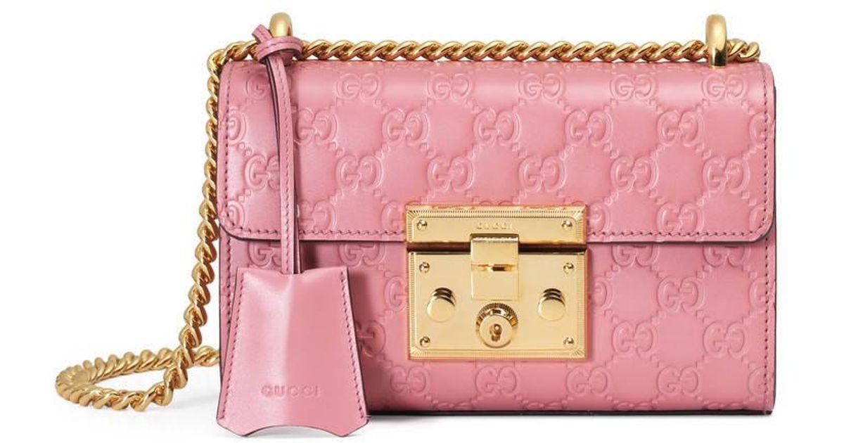 f11bba71c327 Lyst - Gucci Padlock Signature Shoulder Bag in Pink