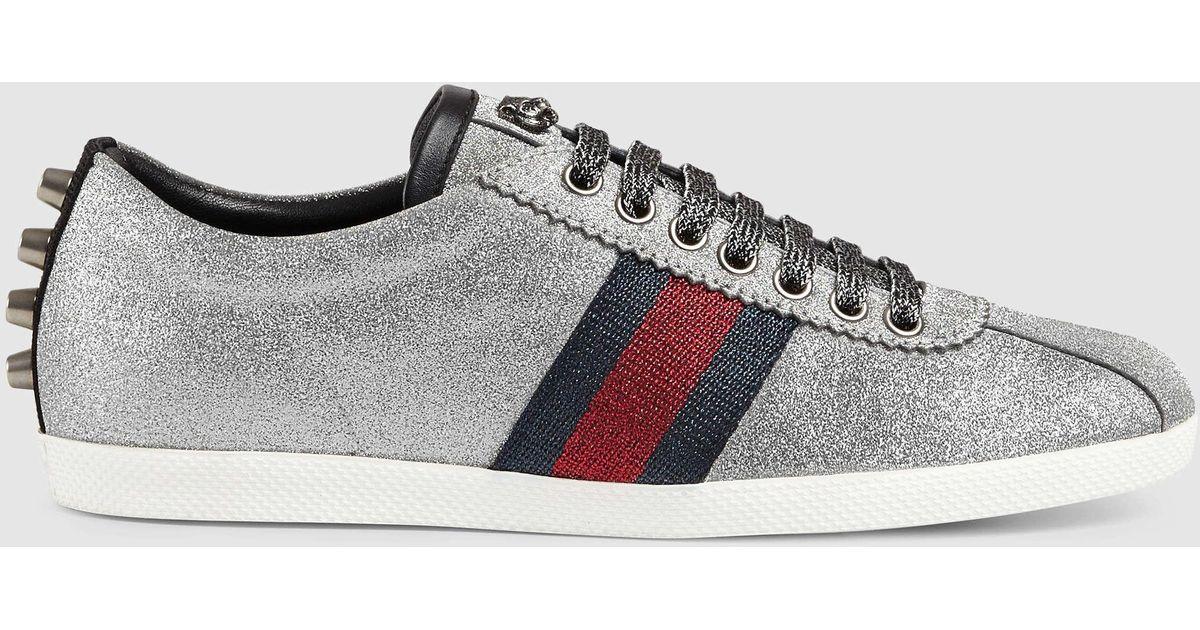 9f0bb2c4029c Gucci Glitter Web Sneaker With Studs in Metallic - Lyst