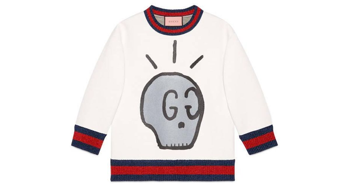 f6b702791 Gucci Ghost Sweatshirt in White - Lyst
