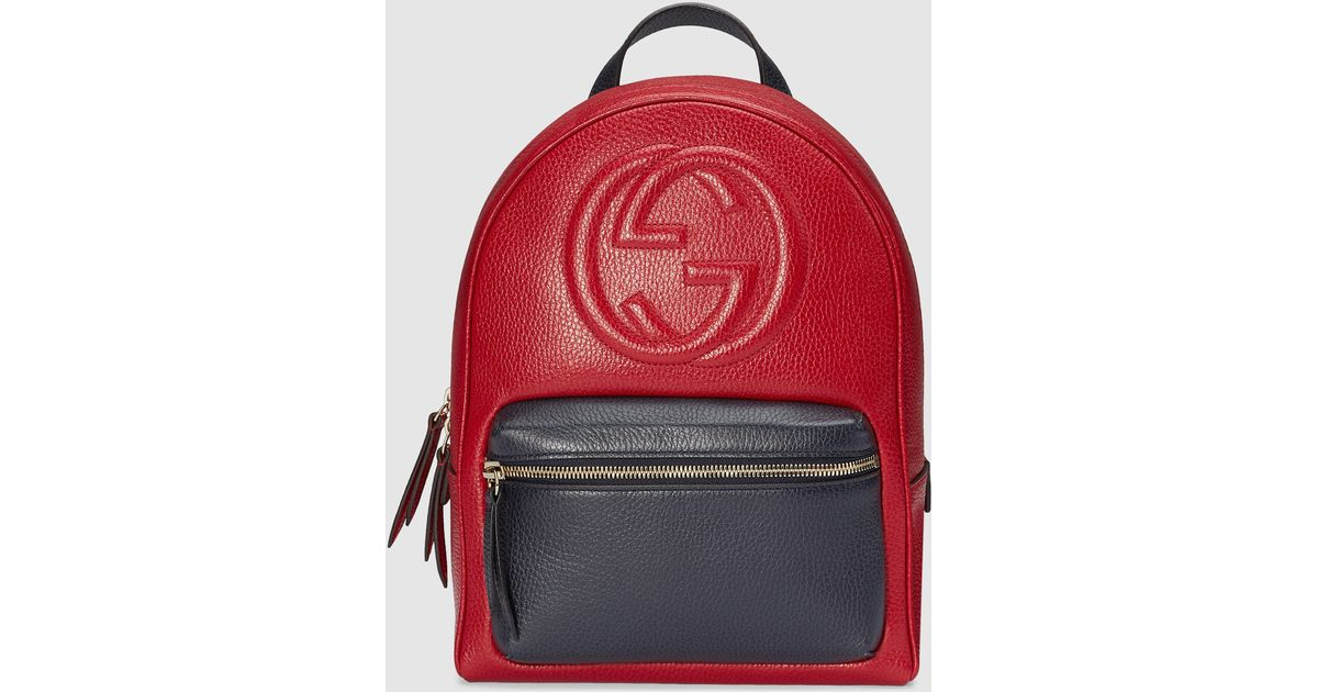 Lyst - Gucci Soho Leather Chain Backpack in Red ad5bcfb589a3c