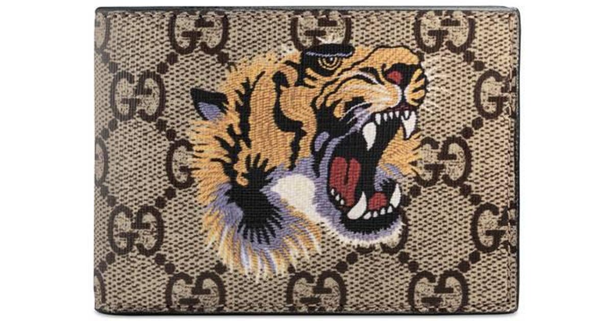 d81aaa08f9bf Gucci Tiger Print GG Supreme Wallet for Men - Save 11% - Lyst