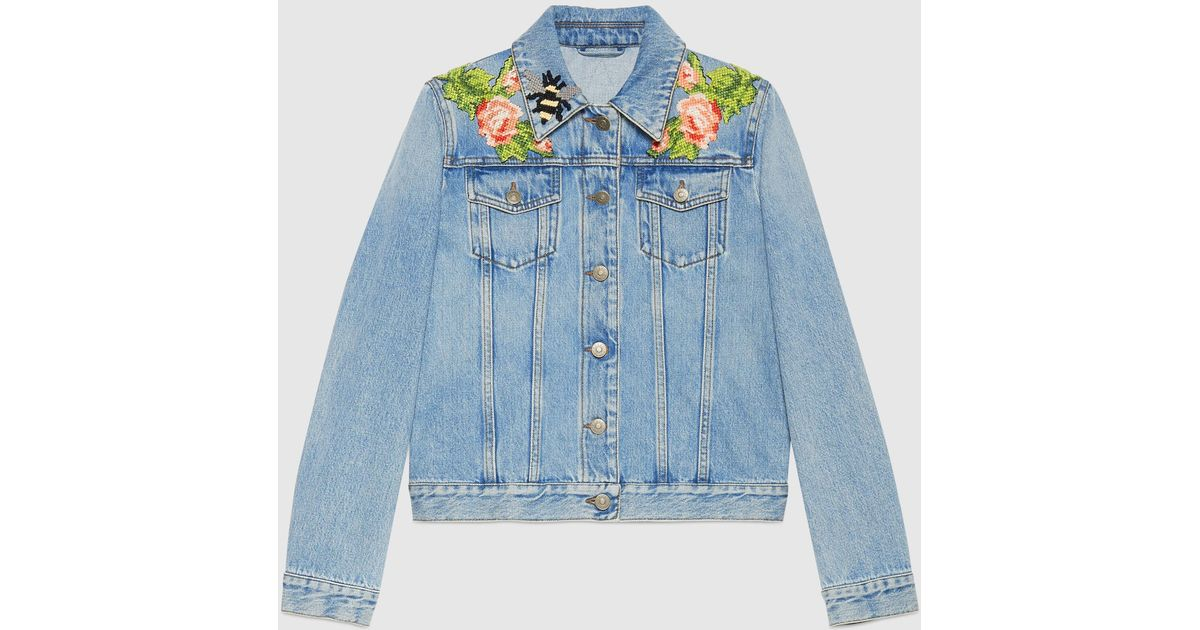 5561cbd948d1b Lyst - Gucci Embroidered Denim Jacket in Blue