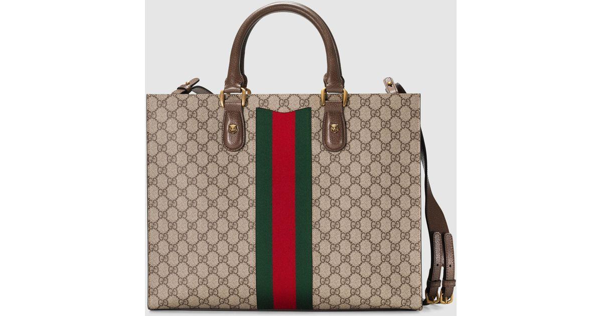6d6969329 Gucci Web Animalier GG Supreme Canvas Tote in Brown - Lyst