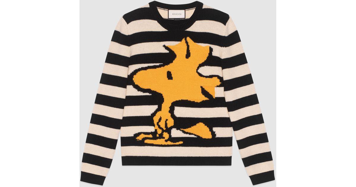 39d12abd8 Gucci Striped Wool Woodstock Sweater in Black for Men - Lyst