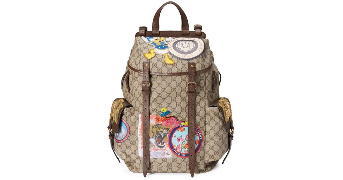 a83d7b0b6941 Lyst - Gucci Soft Gg Supreme Backpack With Appliqués in Natural