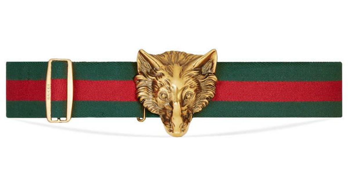 bdbedce949d Lyst - Gucci Elastic Belt With Wolf Buckle in Green for Men