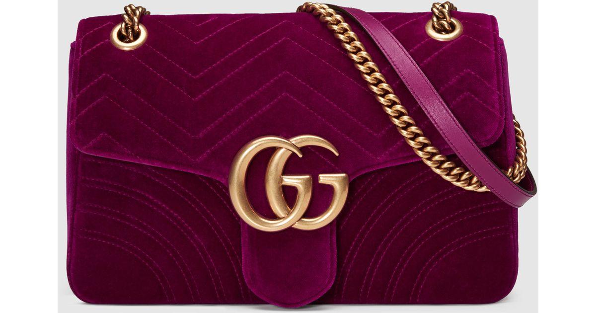 29d379dd5961 Lyst - Gucci GG Marmont Velvet Shoulder Bag in Purple - Save 16%