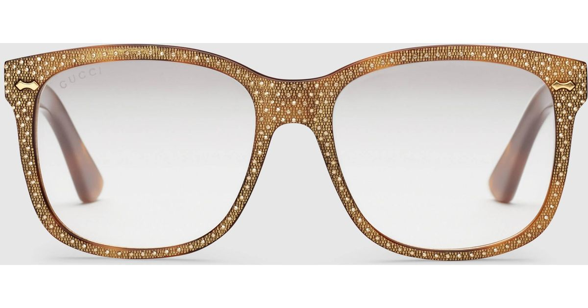 da1cc4b44e6 Lyst - Gucci Square-frame Rhinestone Glasses in Brown