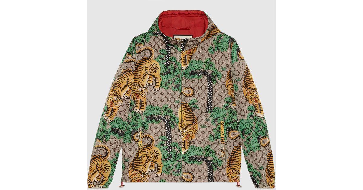 d4816ba1055 Gucci Bengal Print Nylon Jacket in Green for Men - Lyst