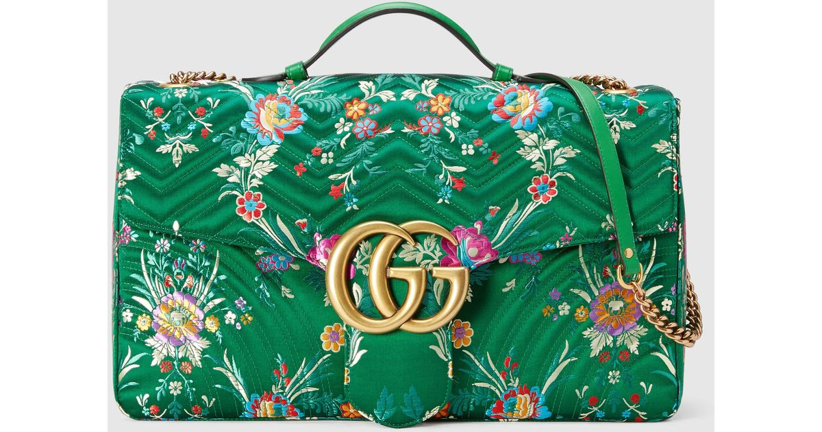 441eae857845 Lyst - Gucci Gg Marmont Maxi Floral Jacquard Shoulder Bag in Green