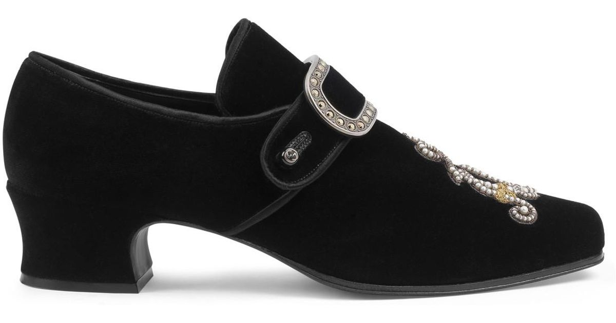 a1686805568 Lyst - Gucci Velvet Loafer With Jewel Buckle in Black for Men