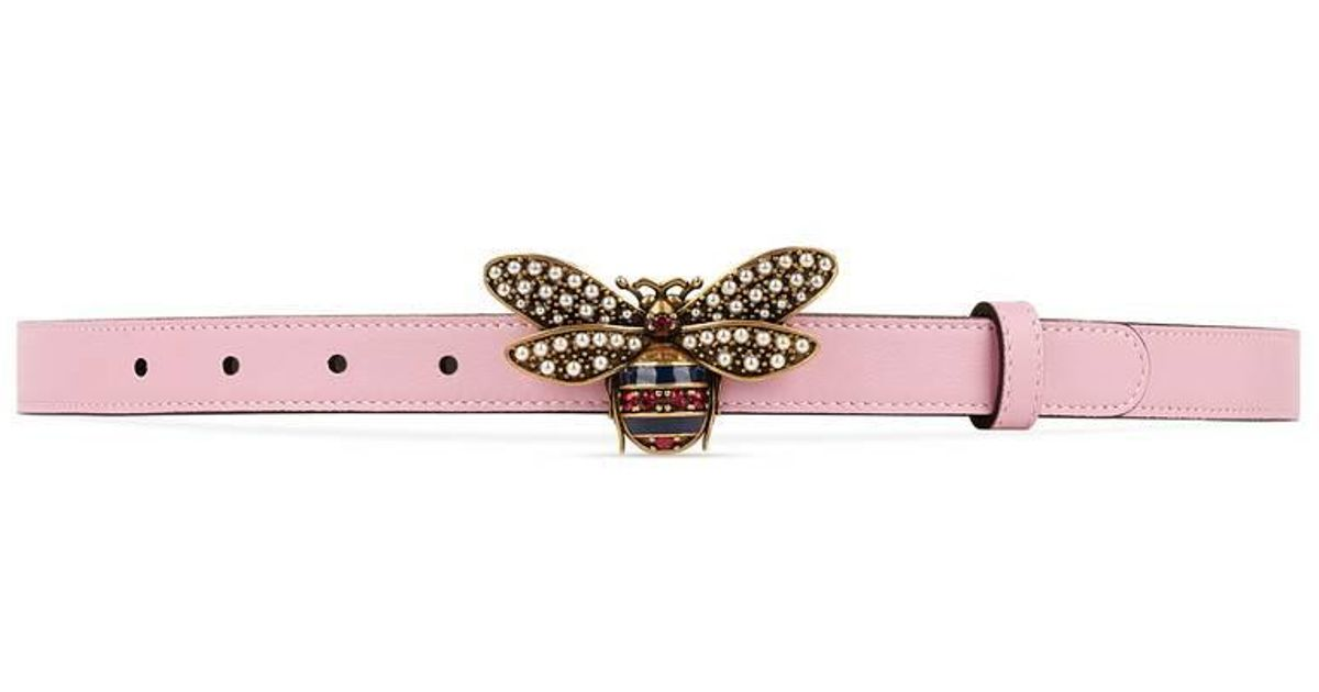 23119d4955d5 Lyst - Gucci Queen Margaret Leather Belt in Pink