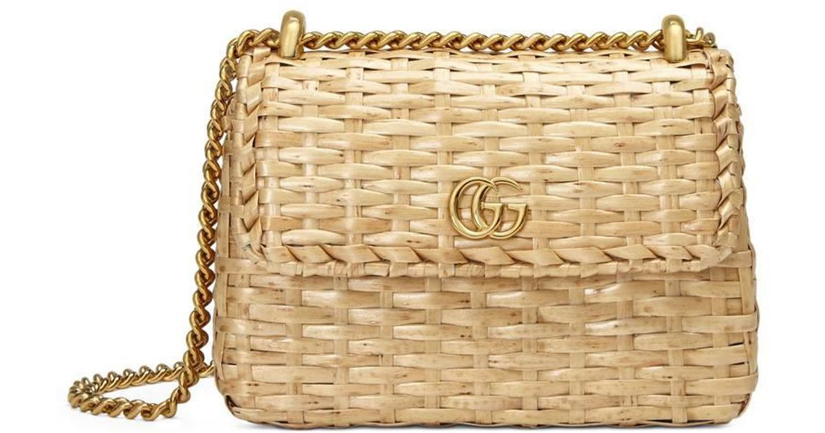 cbb711f73133 Gucci Linea Cestino Mini Leather-trimmed Wicker Shoulder Bag in Natural -  Lyst