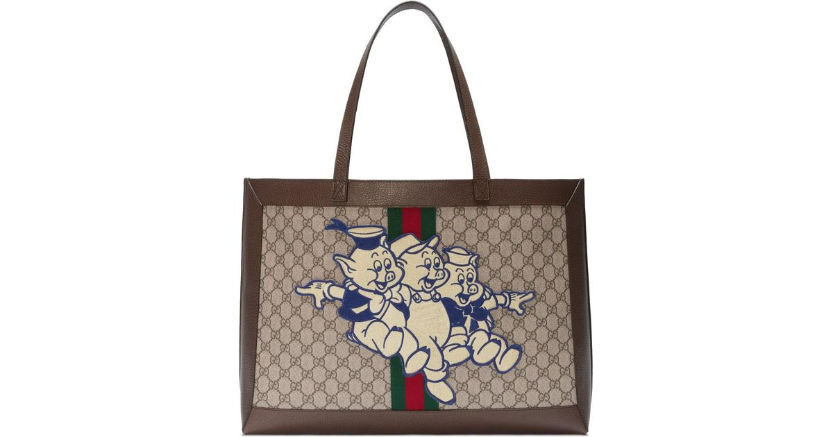 3fe6df9c469e35 Gucci Ophidia GG Tote With Three Little Pigs in Brown - Lyst