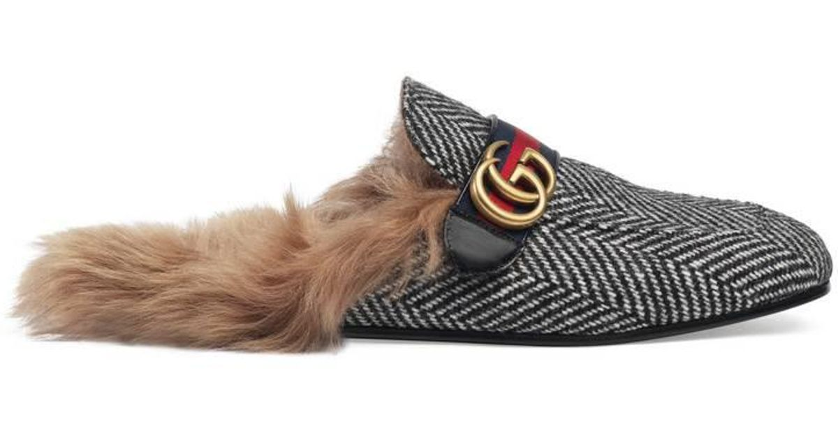 f700770cfc0 Lyst - Gucci Princetown Herringbone Slipper With Double G for Men