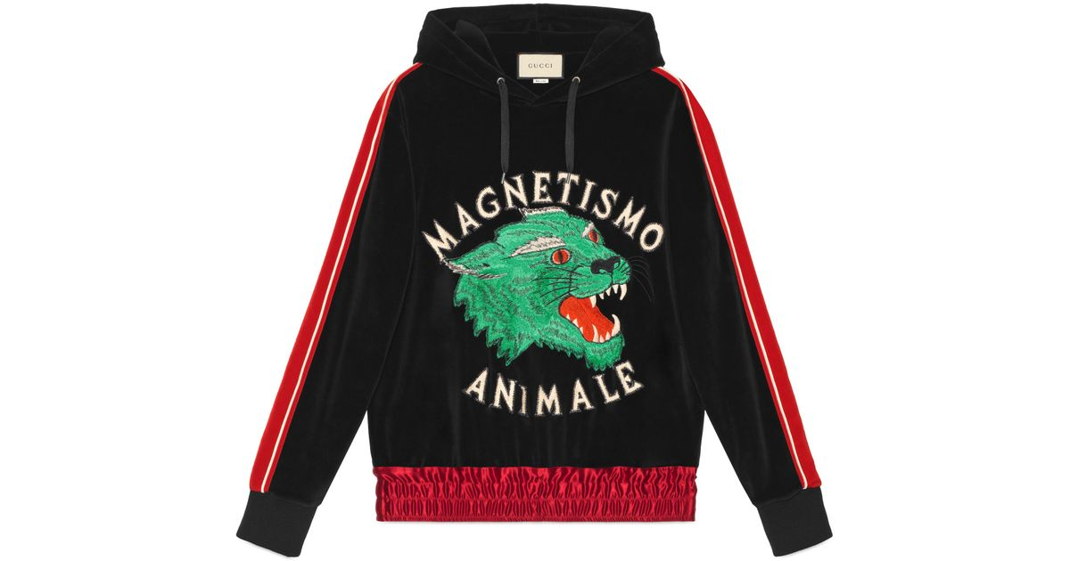9821b606 Gucci Magnetismo Animale Chenille Sweatshirt in Black for Men - Save 11% -  Lyst