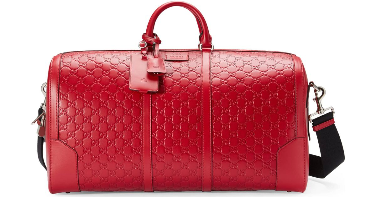 3d4d99caf5c Lyst - Gucci Signature Leather Duffle in Red for Men