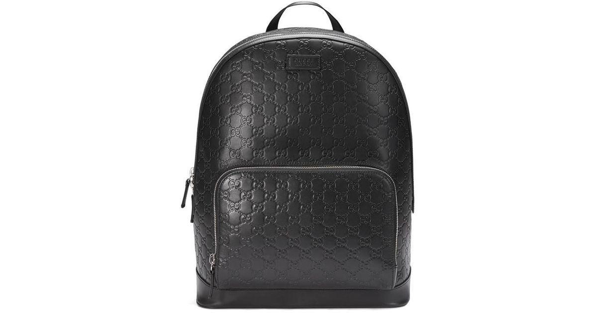 20e74c62515 Lyst - Sac à dos en cuir Signature Gucci pour homme en coloris Noir