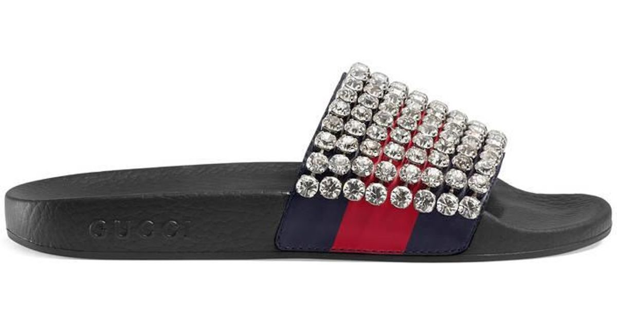 f6ce0d8e6b3 Lyst - Gucci Web Slide With Crystals in Blue