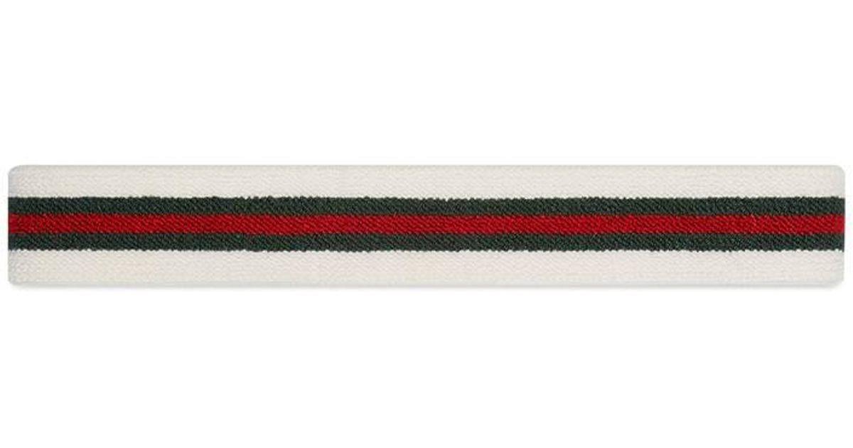 Lyst - Gucci Elastic Web Headband in White 25bedc29d0e