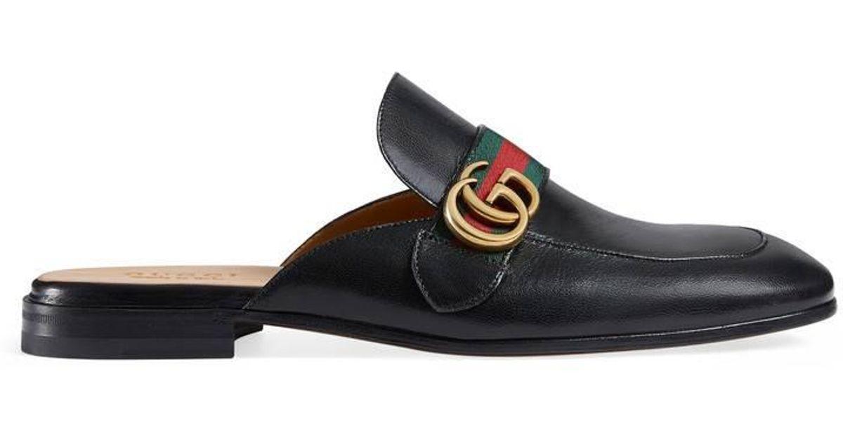 lyst - flaneurs noirs gg princetown gucci pour homme en coloris noir