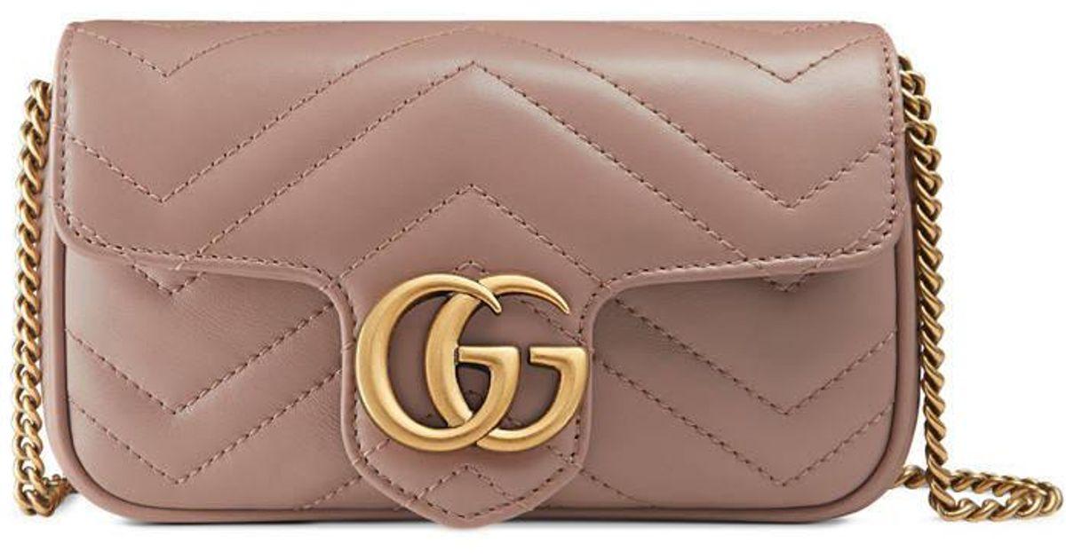 d9081f09a Gucci Gg Marmont Matelassé Leather Super Mini Bag in Natural - Lyst