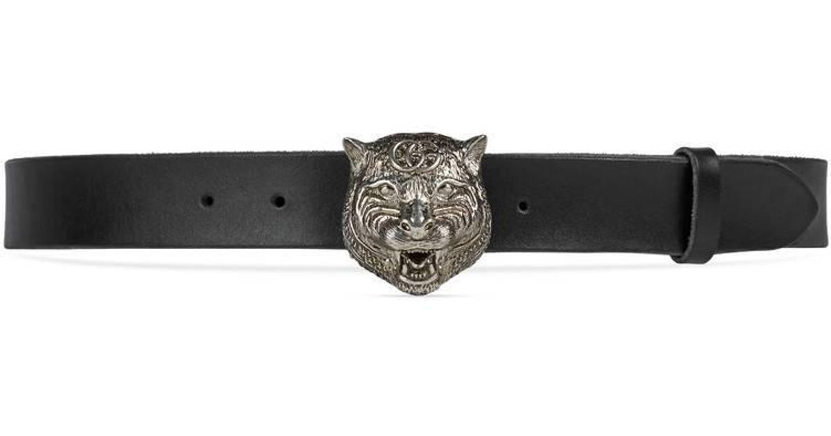 e381c1eff Gucci Leather Belt With Feline Head in Black for Men - Lyst