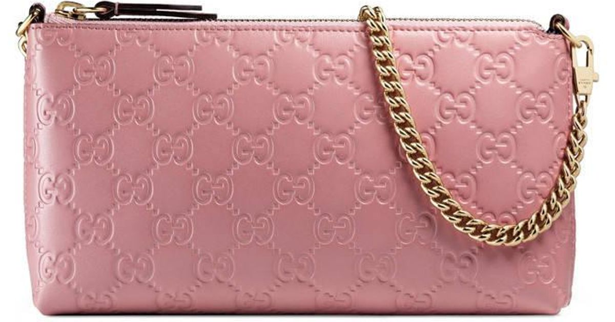 fea6b9cef81e Gucci Signature Wrist Wallet in Pink - Lyst