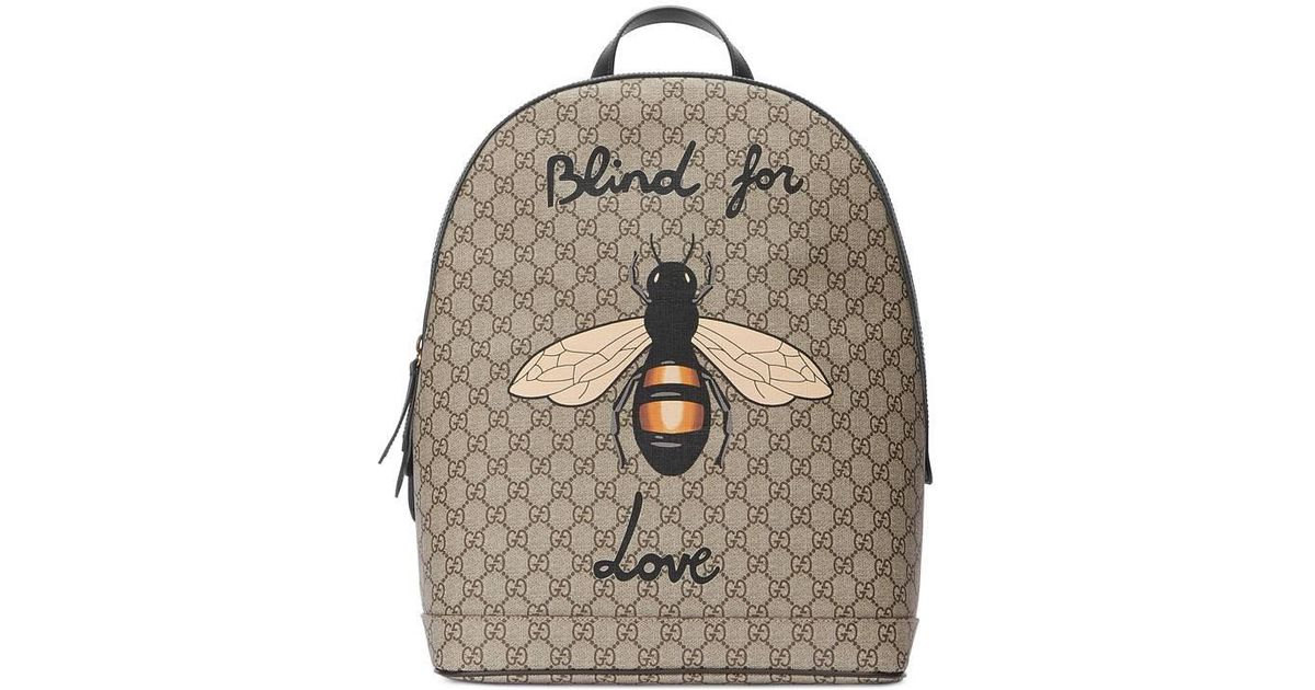 Lyst - Gucci Bee Print Gg Supreme Backpack in Brown for Men cde80c5466d76