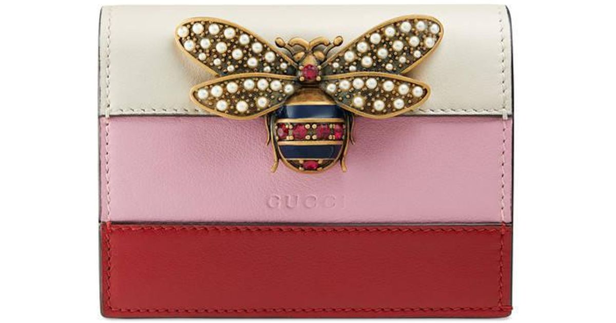 a9457e2530d Lyst - Gucci Queen Margaret Leather Card Case in Pink