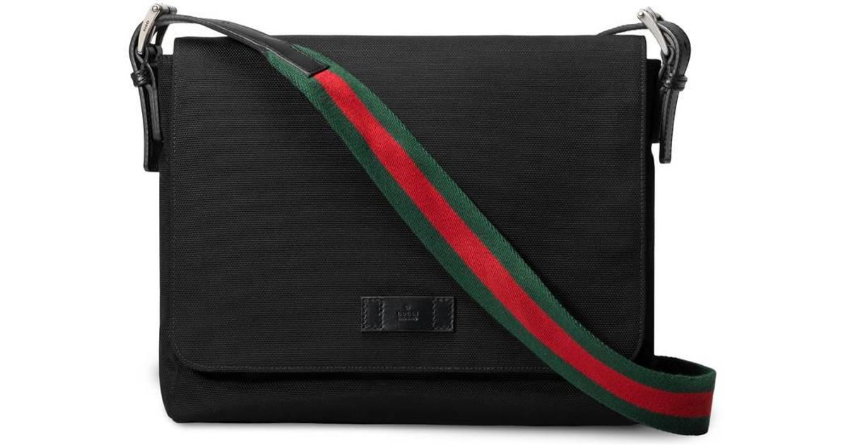 7928a0c73f3 Lyst - Gucci Black Techno Canvas Messenger Bag in Black for Men