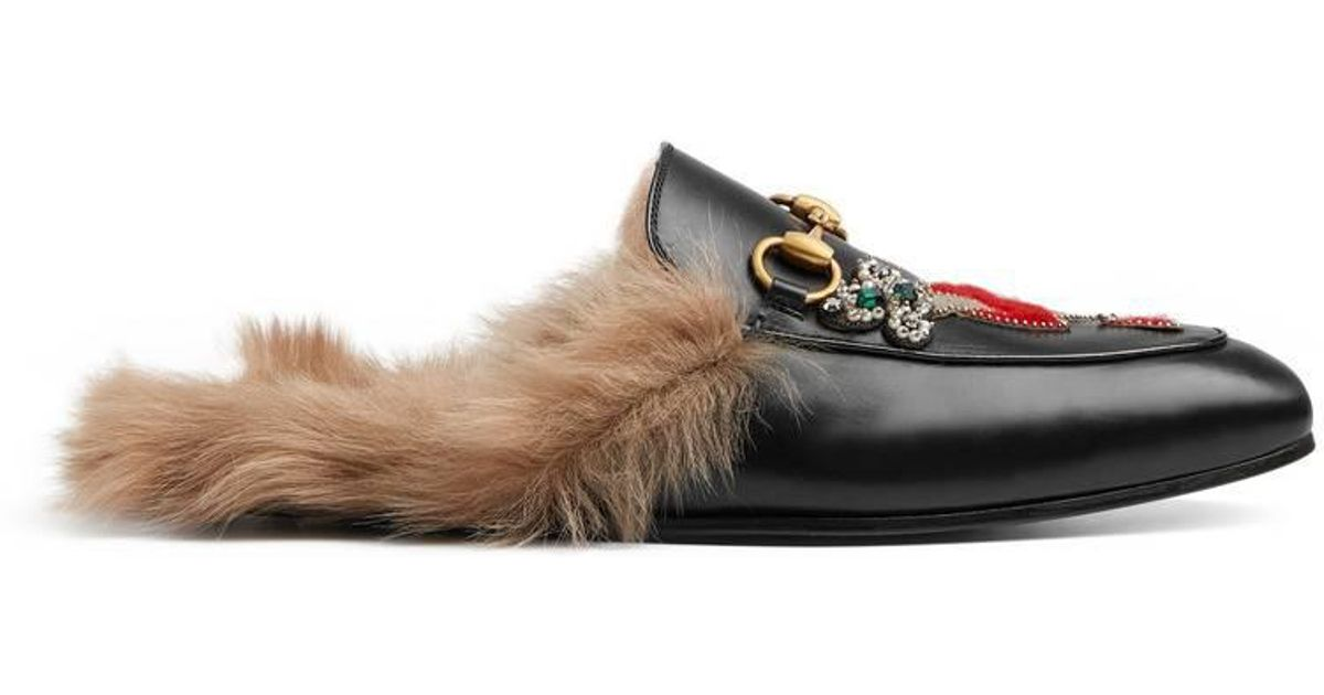4d1e65fbb84351 Lyst - Gucci Princetown Slipper With Appliqués in Black for Men