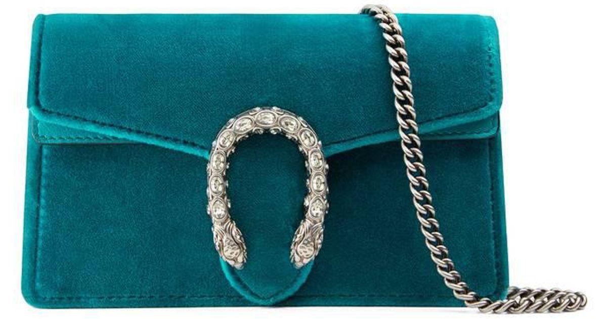 dfaccc863b9 Lyst - Gucci Dionysus Velvet Super Mini Bag in Blue