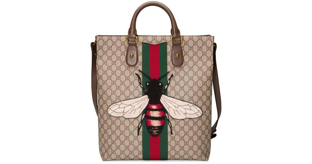 49191be27979 Gucci Web Animalier Gg Supreme Tote With Bee - Lyst