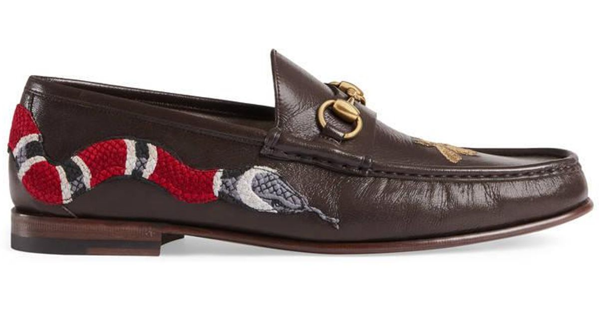 40363138a6c Lyst - Gucci Leather Loafer With Snake in Brown for Men