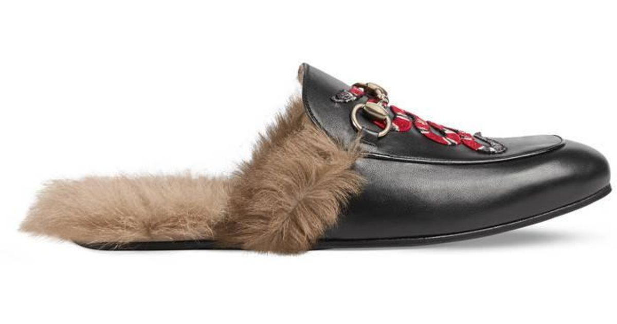 bdf77959092 Gucci Princetown Leather Slipper With Snake in Brown - Lyst