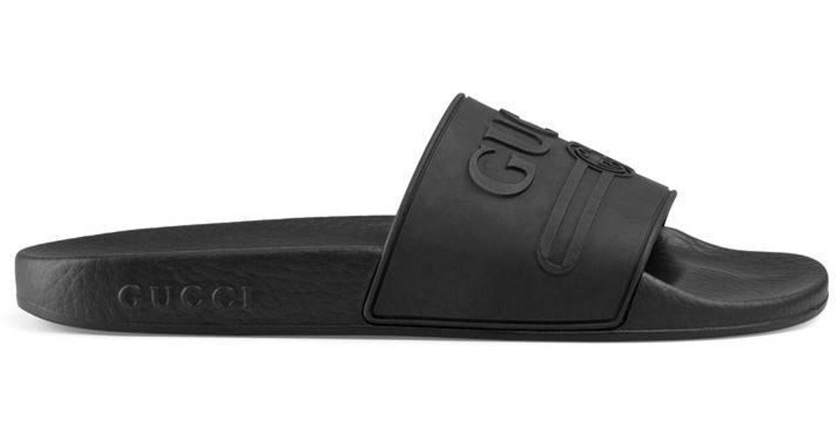 Gucci , Black Logo Rubber Slide Sandal , Lyst