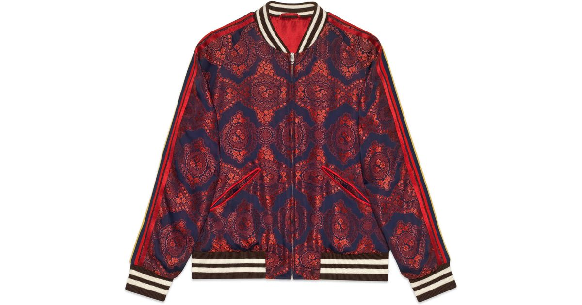 699b0a133 Gucci Red Baroque Jacquard Bomber Jacket for men