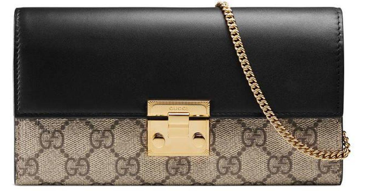 a1b0f722d3a28c Gucci Padlock Continental Wallet in Black - Lyst