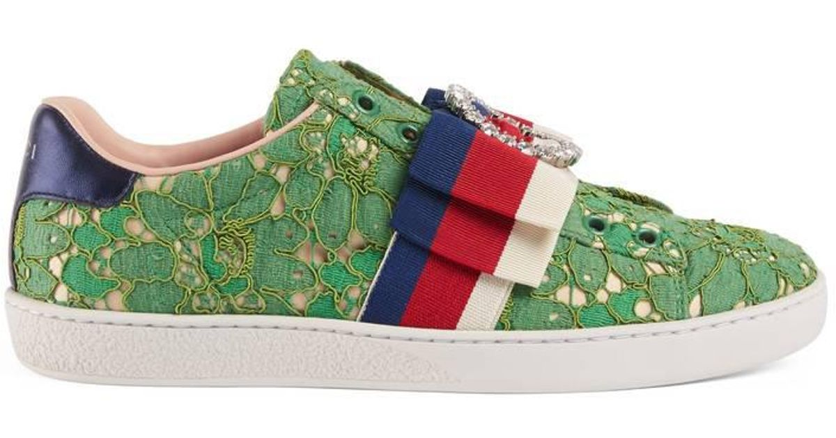 90f168b92 Gucci Ace Lace Sneakers in Green - Lyst