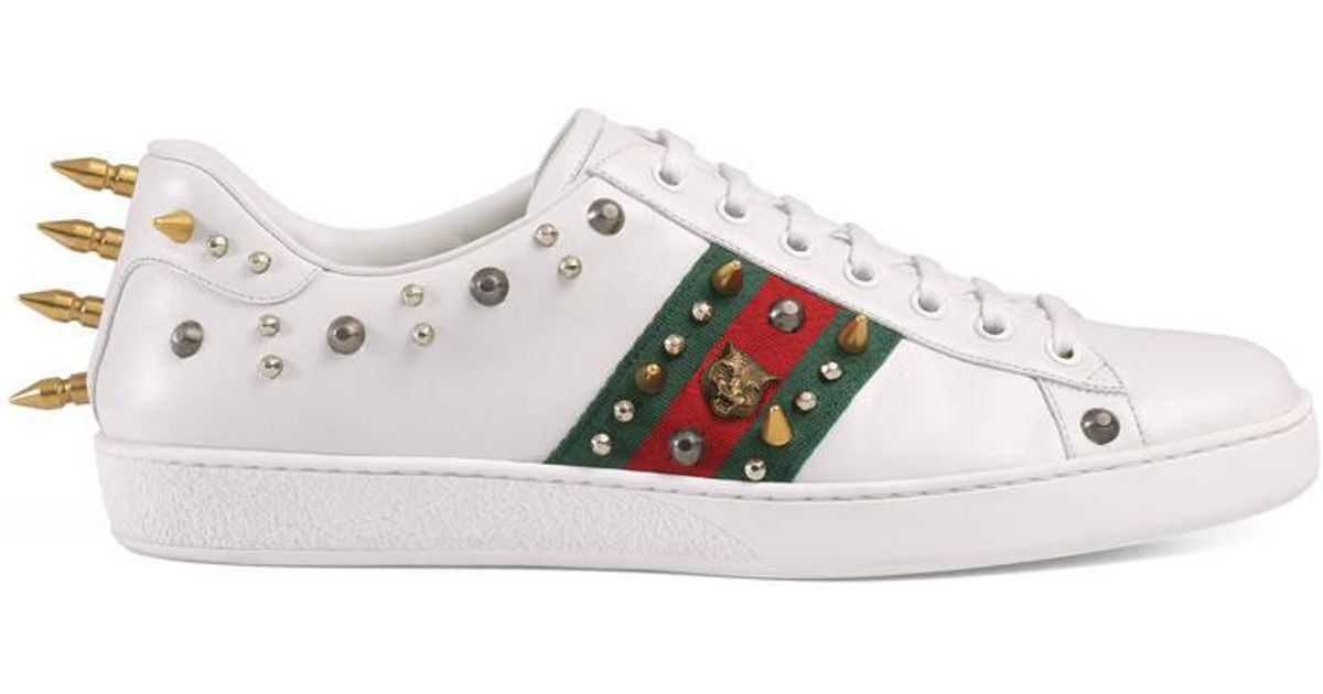 3eea71a329461 Lyst - Gucci Ace Studded Leather Low-top Sneaker in White for Men