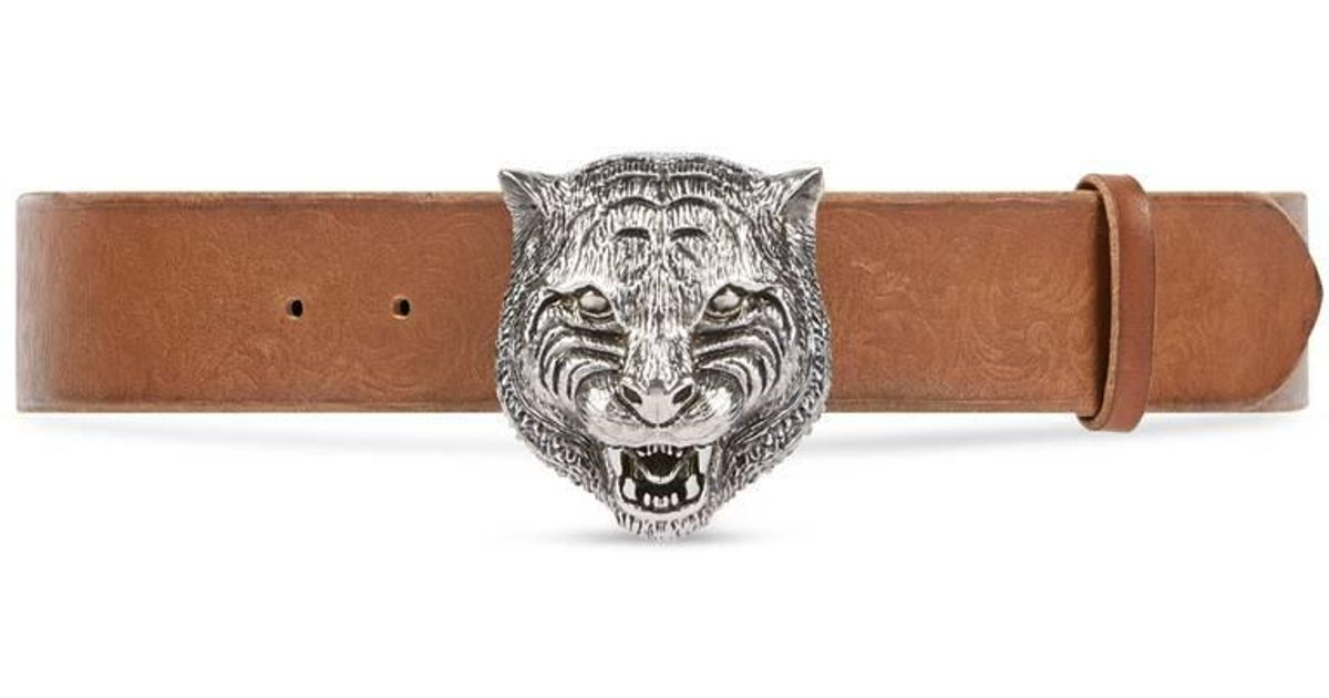 7200ebc34a7 Lyst - Gucci Embossed Belt With Feline Buckle in Brown