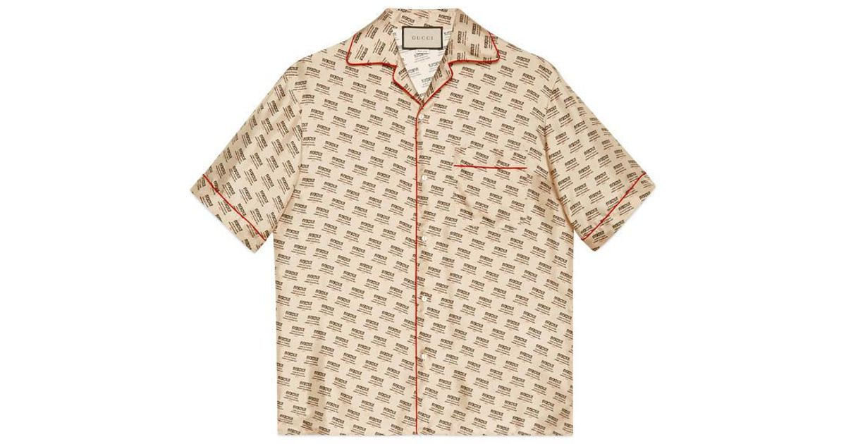 f77d817d Gucci Stamp Bowling Shirt in Natural for Men - Lyst