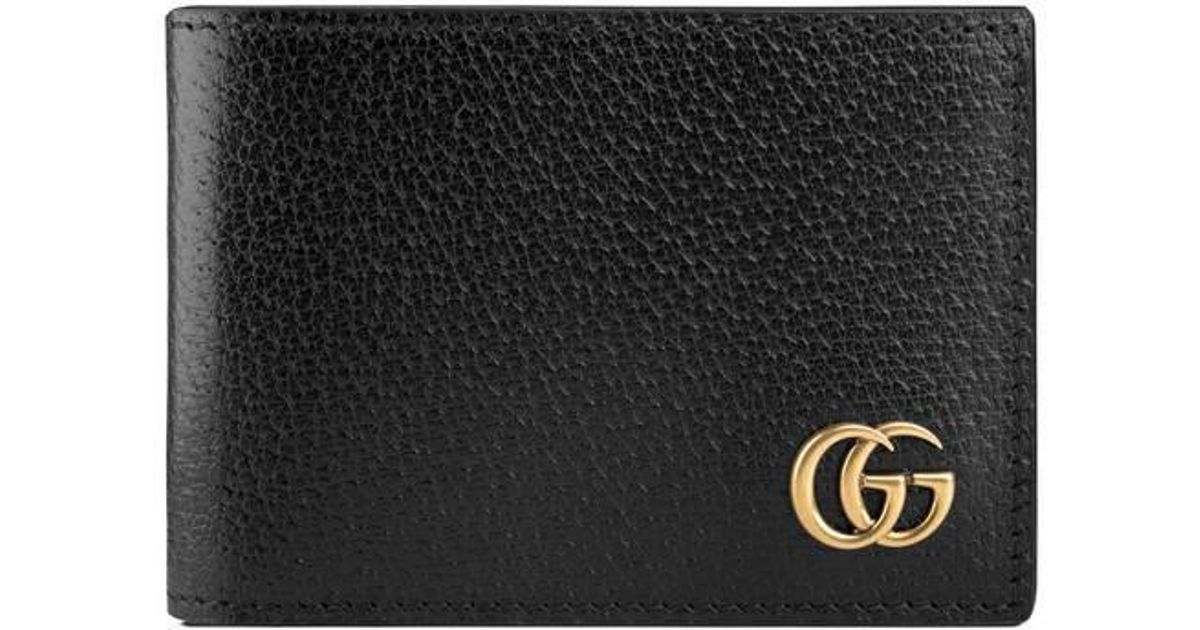 01d4579641f ... lyst gucci gg marmont leather bi fold wallet in black for men ...