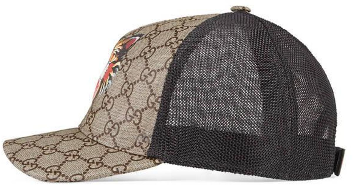 72919416b3051d Gucci Angry Cat Print Gg Supreme Baseball Hat in Natural for Men - Lyst