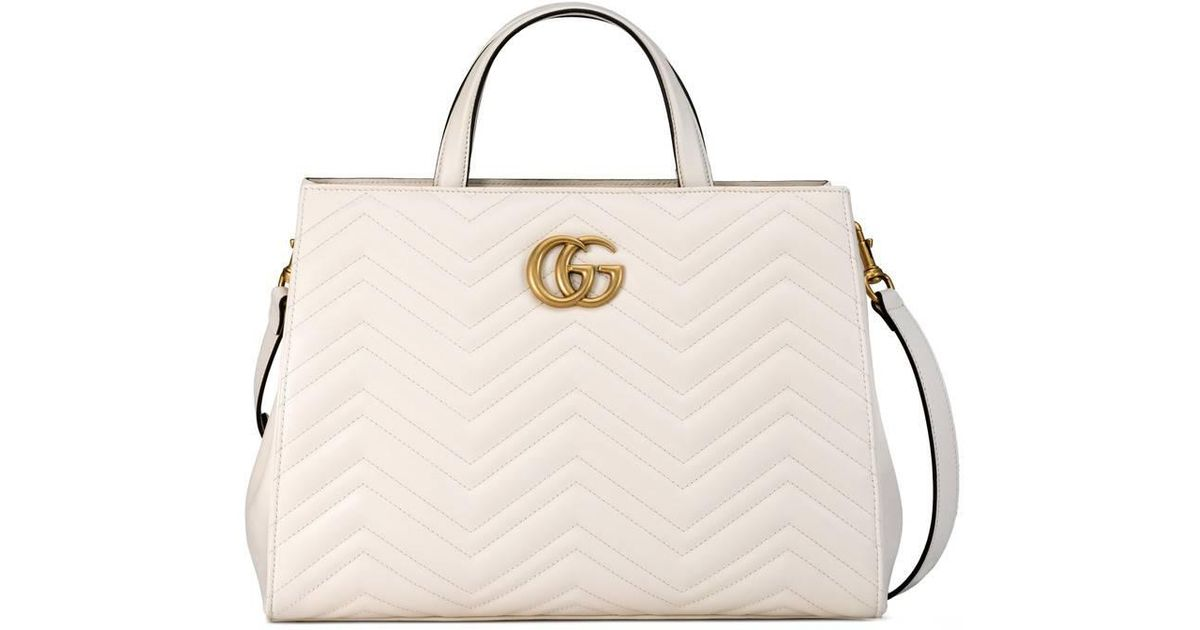d392102556bd Gucci Gg Marmont Matelassé Top Handle Bag in White - Lyst