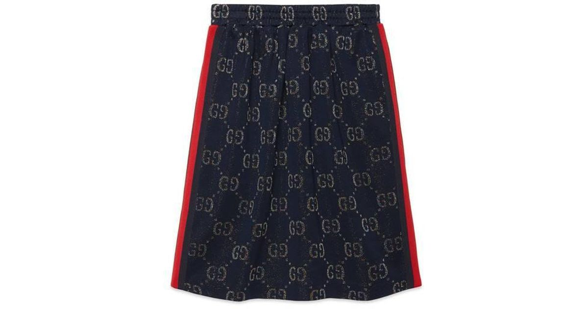 5dccbb5972 Gucci - Children's GG Lamé Skirt in Green - Lyst